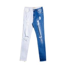 patchwork pantalones patrón mujeres Rebajas [EWQ] 2019 verano nuevo patrón elástico fino Denim Patchwork Hit colores Patchwork Casual Long Pencil Pants mujeres moda marea AE015