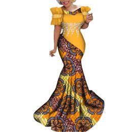 Encaje blanco estampado africano online-Vestidos africanos de moda Vestido largo de fiesta para mujer Vestido tradicional africano con estampado de flores blancas de encaje de perlas Bazin Riche Lady WY284