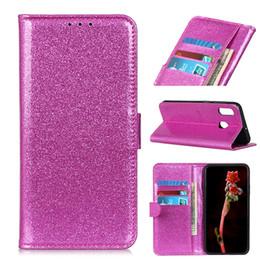 Cubiertas del tirón del iphone niñas online-Funda rosa con purpurina para Samsung Galaxy Feel2 SC-02L A30 SCV43 Fundas con tapa protectora de cuero para LG STYLUS 2 L-01L Japón chicas