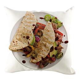 2019 almohadas finas Hot Mexico Burrito Print Funda de almohada de lino Thin Pie Series Funda de almohada decorativa para el hogar Sofá Silla Decoración Funda de almohada almohadas finas baratos
