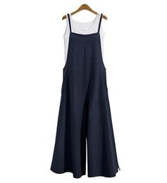 Macacão casual de algodão feminino on-line-2019 verão quente de linho longo largo perna macacão de algodão sling shorts bib mulheres casual vestido solto m1