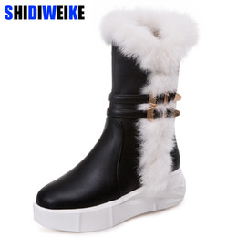 3e5bd76428de Winter Women Snow Boots Warm Mid Calf Boots Platform Zipper Flats Casual  Women PU leather Rubber Shoes n293