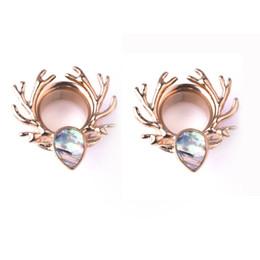 cuernos de alce Rebajas Moda exquisito Crystal Elk Horn Piernel Tunnel Ear Piercing Dilatador Plug Ear Studs