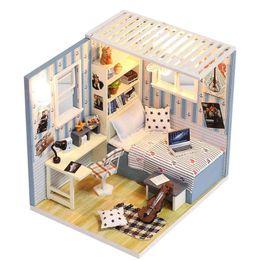 2019 construir casa de vidrio Conjunto de construcción Modelo Juguete de casa de muñecas Casa de madera en miniatura DIY Dollhouse Kit Modelo hecho a mano de madera en miniatura casa de muñecas muebles