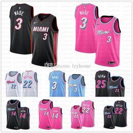 Miami camisa de basquete on-line-Miami Rosa Dwayne Wade 3 Jersey Femininos barato Calor Jimmy 22 Butler Jerseys 14 Tyler Herro Kendrick 25 Nunn A1 costurado Basketball Jerseys