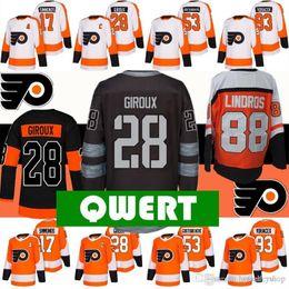 Хоккей футболка филадельфия флаеры онлайн-НХЛ Real Philadelphia Flyers Джерси хоккейные майки 28 Клод для Жиру 93 Якуб Voracek 53 Шейн Gostisbehere 17 Уэйн Симмондс