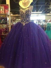 vestidos de quinceañera clásicos Rebajas 2019 Classic Crystal Beaed Tulle Vestidos de quinceañera Sweethart palabra de longitud con cordones dulce 16 vestidos de baile