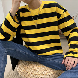 camiseta rayas negro para hombre Rebajas Streetwear Men Striped T Shirt Mens Harajuku Korean Black White T-Shirt Hip Hop T-Shirt Hombre Oversized Yellow Long Sleeve Tops