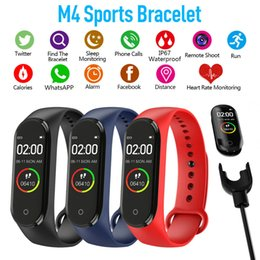 2019 schrittzähler silber armbänder M4 Smart-Band Fitness Tracker Uhr-Sport-Armband Herzfrequenz Smart Watch 0,96 Zoll Smartband-Monitor Gesundheit Armband PK mi Band 4