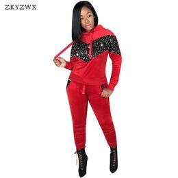 Велюровая спортивная одежда онлайн-ZKYZWX велюр спортивная одежда 2 шт. наборы Весна бархат спортивный костюм из двух частей набор толстовка с капюшоном топы+брюки пот костюм Женщины наряды