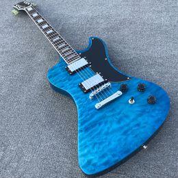 voando guitarra branca Desconto Trans Lago Blue Flame bordo Mahogany Guitarra elétrica com qualidade superior personalizado Estilo Tuilp Tuners 2 pegar Bloco embutimento Ebony