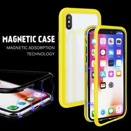 caramelo pc Rebajas Caja del teléfono de cristal templado de adsorción magnética del color del caramelo para el caso del iphone xs max para el iphone x 6/7/8 Marco universal de la PC de la caja