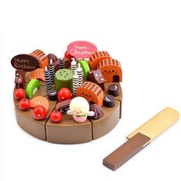 Giocattoli di legno della cucina del bambino online-Giocattoli da cucina per bambini Torta di cioccolato per bambini Giocattoli di legno per dolci da cucina Legno Puddy Giocattoli finti