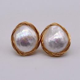 Yeni DIY Barok inci küpeler, 14 K altın el küpe, benzersiz ve güzel, 100% el yapımı. nereden gençlik elbisesi stilleri tedarikçiler