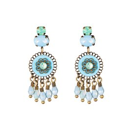 Line ornamenti online-2019 New Retro Temperament Ear Ornaments European and American National Style Rame Lines Round Hollow Earrings