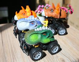 2019 dinossauros velhos Puxar para trás dinossauro carro 1 peça, mini carro grande pneu dinossauro conjunto 2-10 anos de idade menino e menina grande brinquedo presente partido crianças favor dinossauros velhos barato