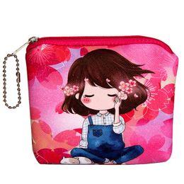 Маленькие кожаные цветочные кошельки онлайн-New Womens Wallets and Purses Small Lady Fashion Girls Flower Coin Purses Girl Leather zipper Women's Key Packet