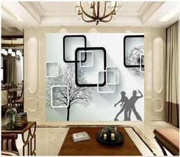 Murais de árvores negras on-line-Papel de parede personalizado 3d foto murais papel de parede moderno minimalista 3D estéreo preto e branco caixa de árvore dandelion dupla dança TV fundo