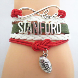 teams beads Promo Codes - Jewelry Infinity Love Stanford Football Team Bracelet Green Red White Sports Friendship Gifts B09201