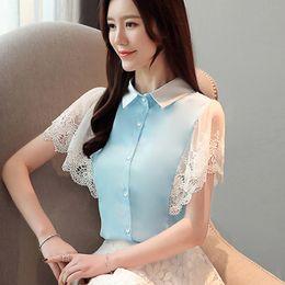 ff42b67c Korean Fashion Chiffon Women Blouses Lace Batwing Sleeve Shirts Plus Size  Ladies Tops Blusas Femininas Elegante