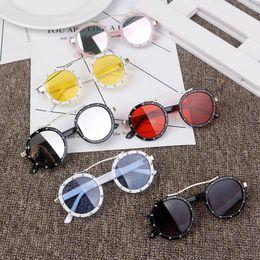 174826e1923c round coloured sunglasses 2019 - summer new children beach sunblock Fashion  Kids rivet sunglasses vintage style