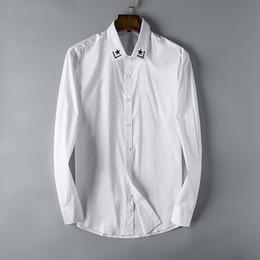 3e1b9ec7e56 Designer Mens Shirts Fashion Casual Star Embroidery Black White Business  Office Shirt Long Sleeve Brand Blouse