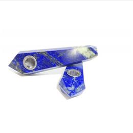 Pedra lazuli on-line-Atacado Natural Gravado Lapis Lazuli Pedra De Cristal De Quartzo Tubos de Tabaco Fumar Para A Cura Do Tabaco saudável fumar