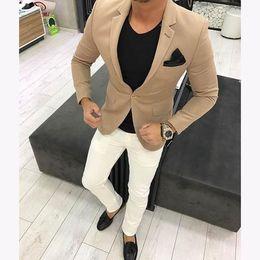 2019 sposo fumoso grigio bordeaux Ultimi abiti da uomo marroni kaki Mens Suit Casual Blazer Skinny Tuxedo Custom 2 pezzi kingsman Giacche Terno Masculino