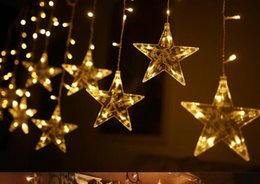 2.5M Curtain Light LED Star Christmas Garland 220V EU Outdoor Indoor lighting String Fairy Lamp Wedding Holiday Party Decoration cheap star fairy light curtain de Fornecedores de cortina de luz da estrela e fada