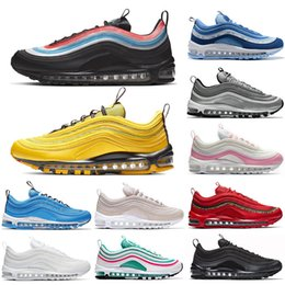 Scarpe belle blu online-nike 97 air max 97 air 97 Scarpe da corsa Womens Have a Nice Day Neon Seoul Rainbow Bright Citron Pink Blue Hero South Beach Triple Bianco Nero Mens Designer Shoes