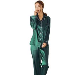 Les femmes imitant le pyjama en tissu de soie définit les vêtements de nuit à manches longues Homewear Cardigan Nightwear 5 couleurs pour le choix ? partir de fabricateur