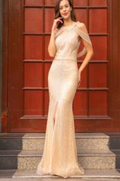 Atemberaubende Sexy Diamant Pailletten Meerjungfrau Perlen Formale Abendkleider 2019 Backless Elegante Lange Bodenlangen Partykleider von Fabrikanten