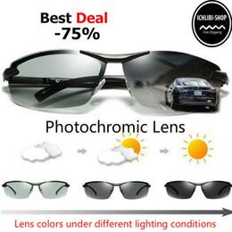 Gafas de sol para el día noche online-Gafas de sol fotocromáticas Hombres Conducción polarizada Gafas de camaleón Cambio masculino Color Gafas de sol Visión nocturna Día Conducción Gafas