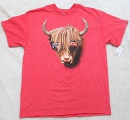 T-shirt manche en cuir rouge en Ligne-Tee-shirt New Bull Yak Horns rouge pour hommes T-shirt à manches courtes Grand Top Delta Pro Poids veste croate en cuir tshirt