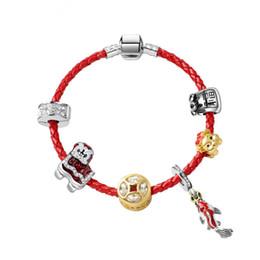 Красный карп онлайн-New gift, more than a year, carp hanging pendant bracelet DIY creative blessing bag, piglet, beaded red leather rope bracelet