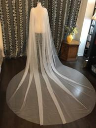 Schulter schleier online-2018 Tüll Cape Schleier 3 Meter lange Hochzeit Braut Schulter Schleier Weiß / Elfenbein