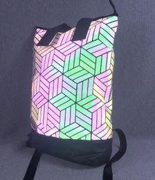 Desconto streetwear barato 3D Top Rolo Mochila Em Design Geométrico BP ROLL TOP 3D SACO Mochila de Viagem Mochila sacos de ombro Esportes ginásio jogging de