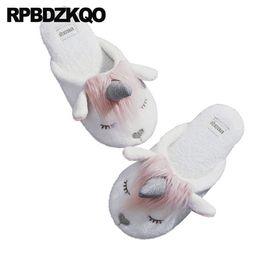 смешные слайды Скидка смешные зимние горки большой размер животных меховые тапочки в помещении большая обувь широкая обувь женская мультфильм плюс женский дом единорог