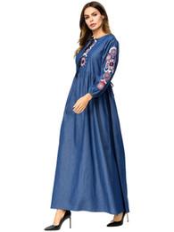 cdbb410ae2 Casual Moroccan Kaftan Denim Dres Embroidery Full Length Robe Abaya Fashion  Muslim Arabic Robe Comfortable 7313