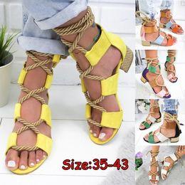 2019 sandales robustes en taille plus Plus la taille 35-43 nouvelles femmes mode sandales à talons chunky lacets en cuir d'été chaussures de plage sandales sandales robustes en taille plus pas cher