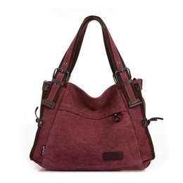hot pink hand bags Promo Codes - Fashion Vintage Canvas Bag Shoulder Messenger Hand Bags Totes Canvas Casual Tide Bag Hot Sale Handbag For Women Female Big Tote