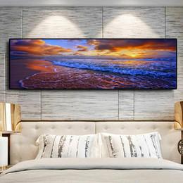 immagini del tramonto spiaggia Sconti Spiaggia di oro naturale Sunset Sunset Poster e stampe su tela Panorama foto scandinavo Wall Art Picture for Living Room