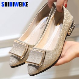 bling pointed toe flats Coupons - Women Flats Cool Golden Buckle Flat Shoes Women Loafers Ballet Flats Bling Bling Black Shoes Casual Pointed Toe Slipon