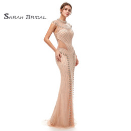 6742ab2c7fb85 Chinese Luxury Crystal Mermaid Peach Tulle Prom Party Dresses 2019 Sexy  Champagne Backless Vestidos De Festa