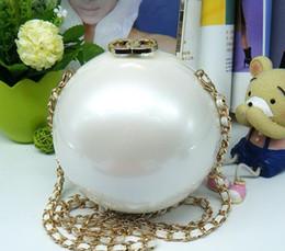 Embragues fiesta de bodas online-2019 Bolso de noche Pearl Boll para mujer, bola redonda, perla con cuentas, bolso de embrague, mini bolsos, bolsos de fiesta de boda de perlas