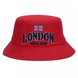 bebe382fb3179 Embroidered English Letters London Fashion Street Basin Hat Men s And  Women s Sun Hat Union Jack Bucket hat