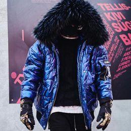 2020 cappotto di pelliccia blu cappotto uomini Nuovo caldo cappotto di spessore 2018 uomini parka blu, con elevata qualità cappuccio di pelliccia uomo sportivo cappotto con cappuccio bomber neve per l'uomo sconti cappotto di pelliccia blu cappotto uomini