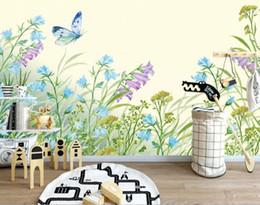 carta da parati del fiore per la stanza dei bambini Sconti Carta da parati personalizzata per foto in 3D carta da parati floreale carta da parati per la camera dei bambini Carta da parati floreale in stile acquerello
