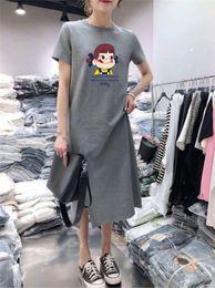 2019 verão gordo da mulher camiseta Designer de Mulheres Vestido de Manga Curta Vestido Feminino Verão Novo Casual Solto Longo Seção Sobre O Joelho Gordura Irmã T-shirt Saia verão gordo da mulher camiseta barato