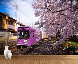 wallpapers cherry blossom Promo Codes - Custom 3D Wall Murals Wallpaper Wall Painting Stereoscopic Original train cherry blossom TV background w 3D Living Room TV Backdrop Mural